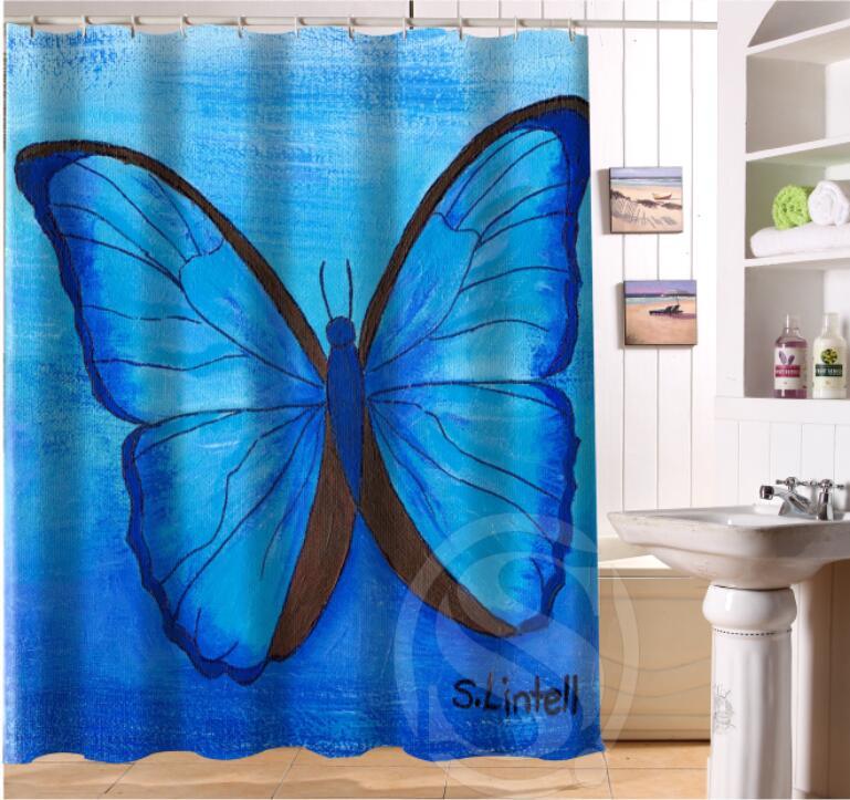 Beautiful butterflies and flowers Retro Cartoon Custom Shower Curtain Fabric Bath Curtain Waterproof MORE SIZE SQ0422-LQS08