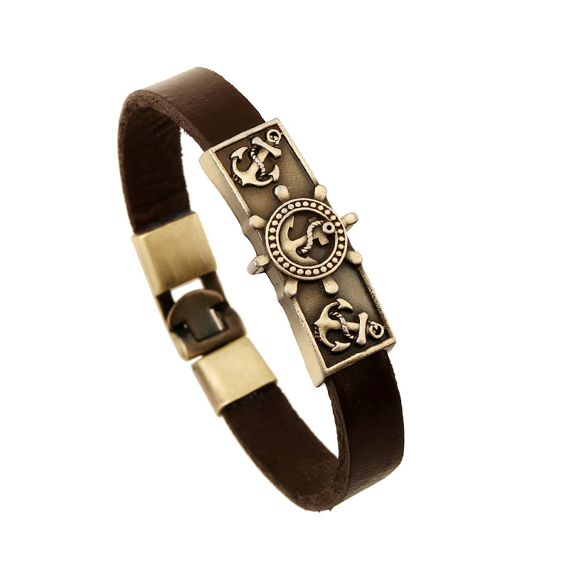 ER 2016 Ethnic Viking Bracelet Real Leather Weed Leaf Bangle Scull Braslet Indian Tribal Jewelry Pulseras Hombre Cuero LB147