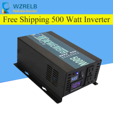 Peak Full Power 500W Solar Inverter Pure Sine Wave Car 12V/24V to 120V/220V DC AC Voltage Converter