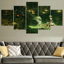 Dragon and Girl Anime 5 Pieces Home Print Poster Canvas Painting Wall Art Living Room HD Printed Modern Decorative