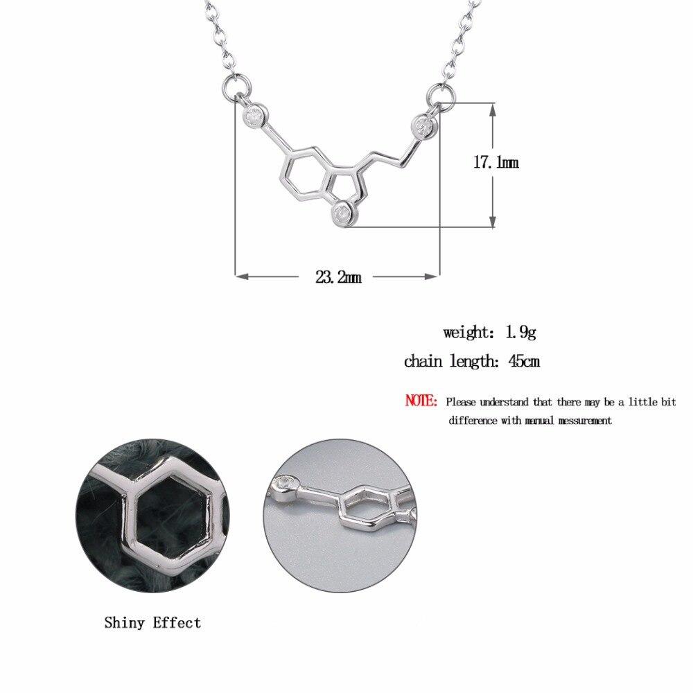149816344196 Cxwind de circón de plata serotonina molécula química collares del ...