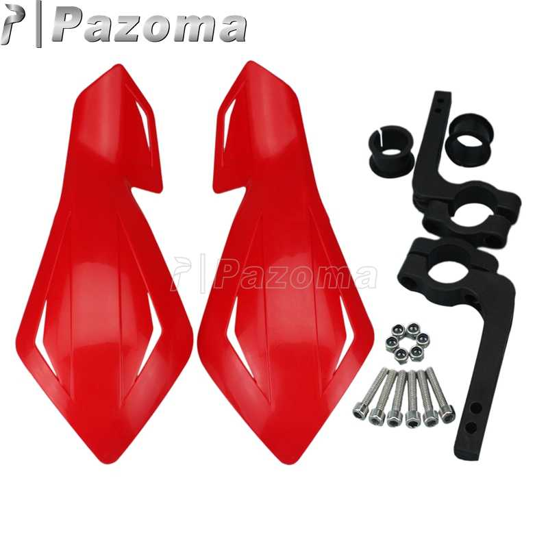 "Pazoma Red Motorcycle  7/8"" 22mm Supermoto Dual Sport Handguard Protector for Honda Yamaha Suzuki Snowmobile"