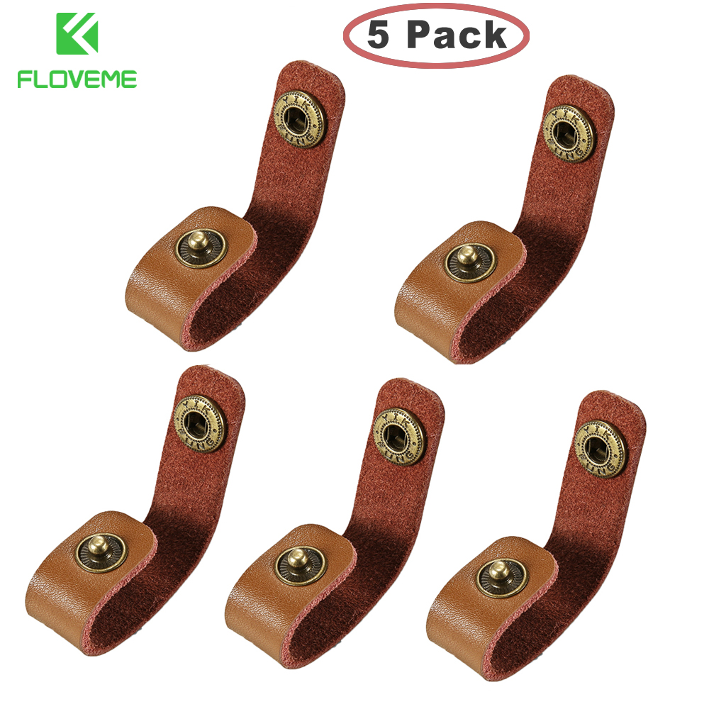 все цены на FLOVEME 5 Pack Real Leather Cable Winder Wire Organizer Earphone Cord Protector For iPhone Samsung Xiaomi Cable Holder Buckle онлайн