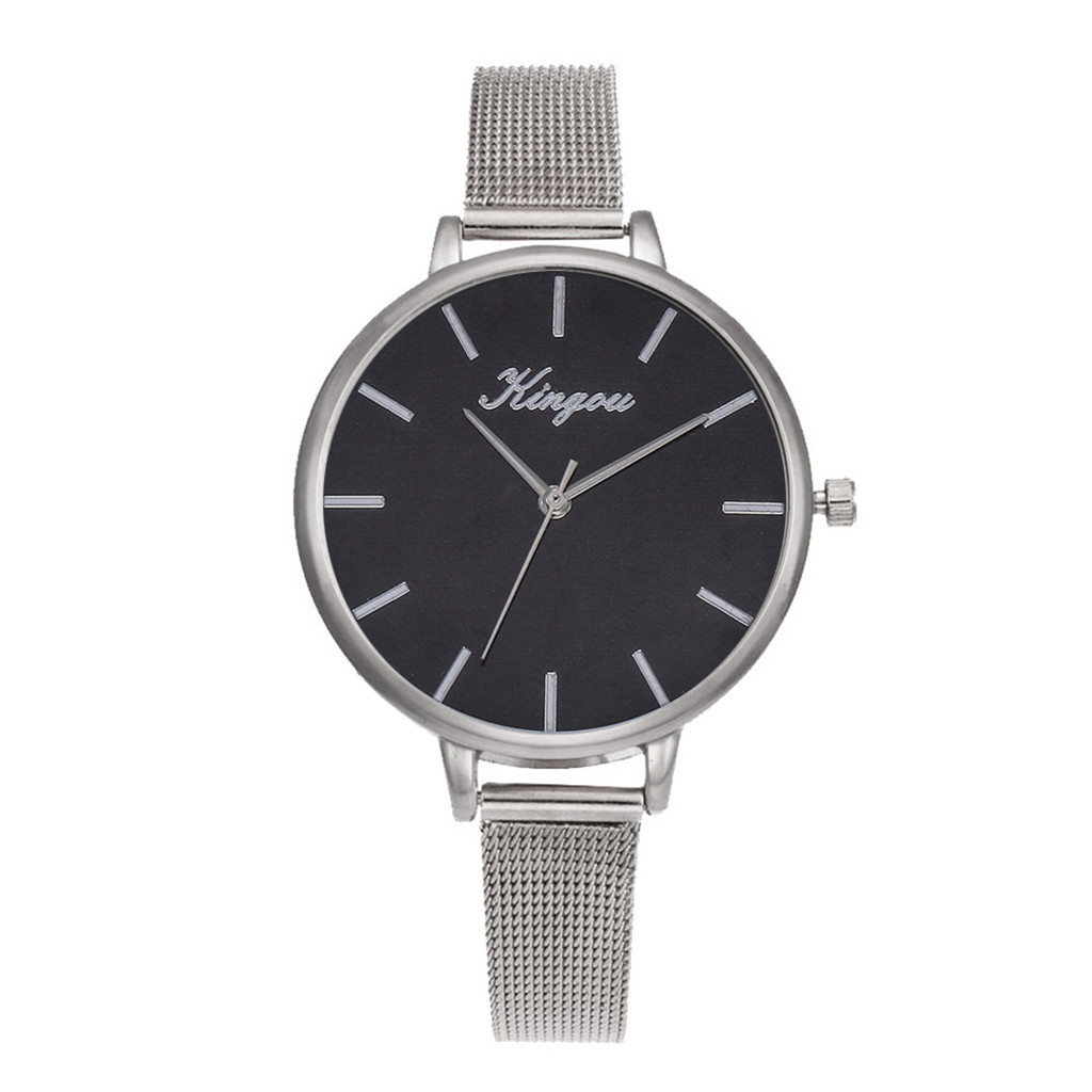 Black Watch Women Watches Top Brand Luxury Ladies Wrist Watches Sliver Mesh Stainless Steel Dail Casual Clock Horloges Mannen