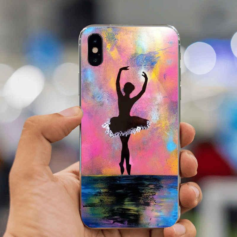 LISHE Balerin kız dans Yumuşak TPU kabuk Coque Kabuk telefon kılıfı Apple iPhone XS Max 8 7 6 6 S artı XR 10 5 5 S SE Kapak