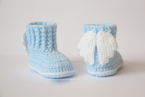 b22cb9820c13f US $9.0 |Crochet baby booties, shoes, boots,wings, angel, white, pink,  Baptism, Christening photo prop,baby shower gift size: 9cm,11cm-in Crib  Shoes ...