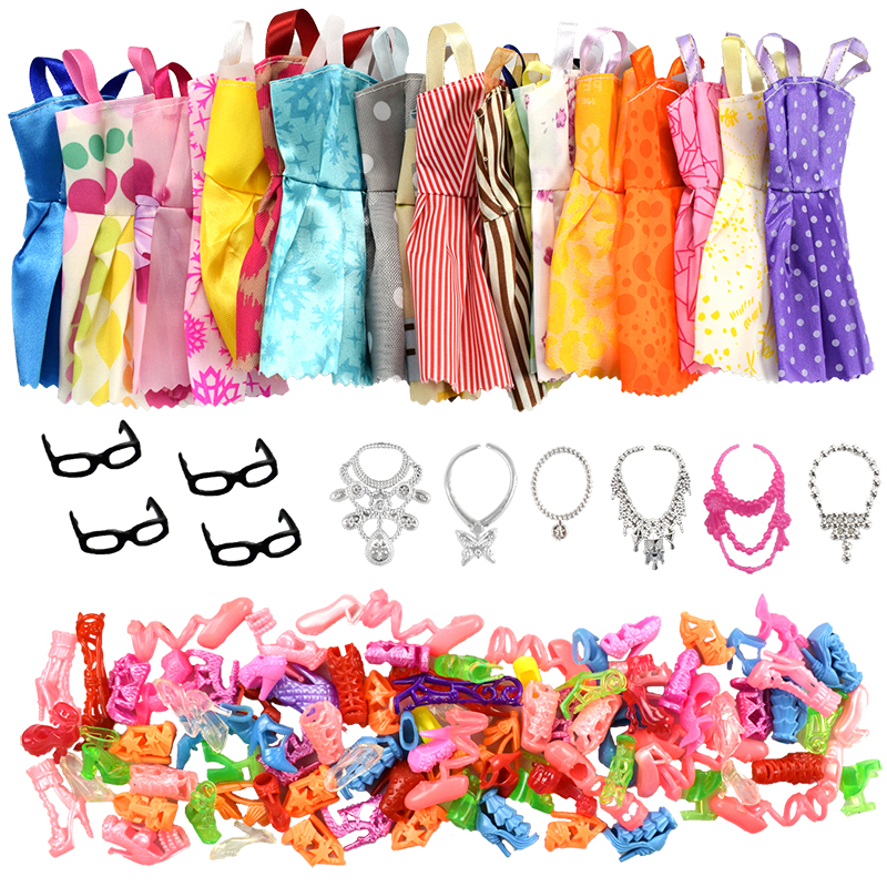 30 Item/Set Doll Accessories=10 Pcs Mixed Doll Clothes Dress+10 Pairs Doll Shoes +4 Glasses+6 Plastic Necklace For Barbie Doll