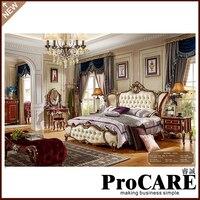 Роскошные мебель для спальни Европейский стиль твердого дерева с балдахином от производителя Foshan City кожа кровать