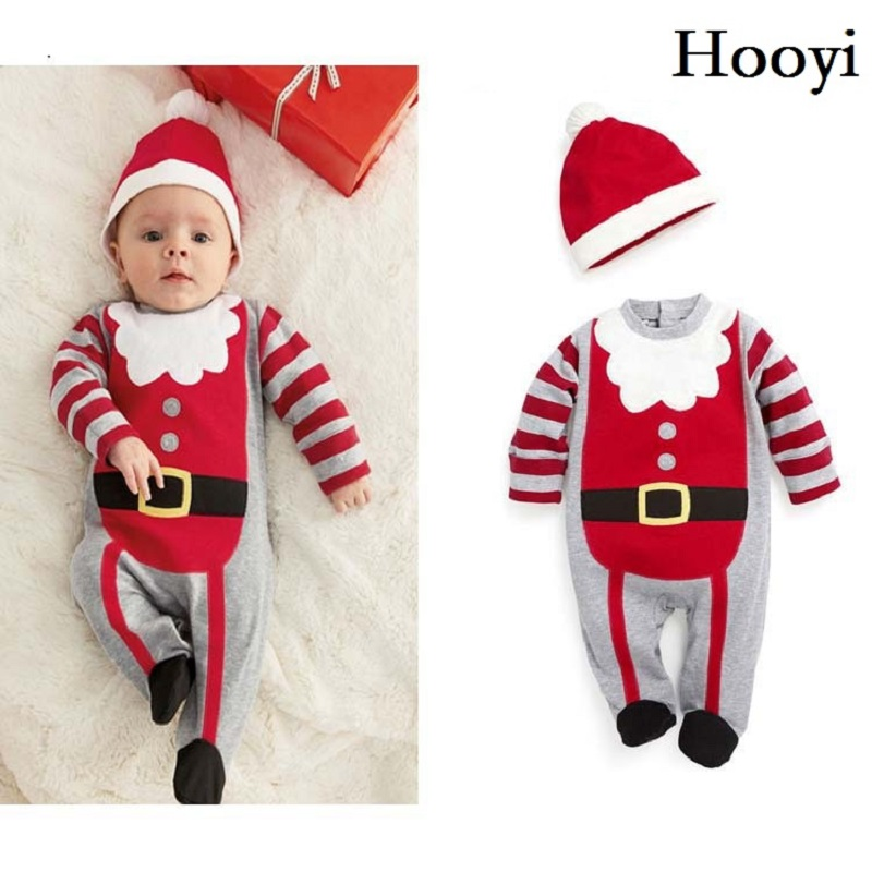 Santa Christmas Baby boys Long Rompers Hat Sets X'mas Gift Newborn Clothes Caps Hoodies Cute Bebe Clothing Suit Costumes puseky 2017 infant romper baby boys girls jumpsuit newborn bebe clothing hooded toddler baby clothes cute panda romper costumes