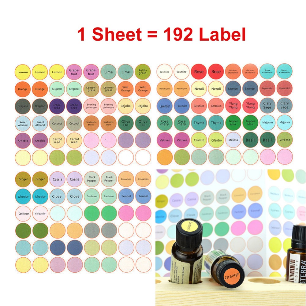 1 Sheet=192 Labels Essential Oil Bottles Cap Lid Labels Round Circle Colorful Toys Stickers Compatible For DoTERRA Young Living