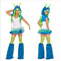 2017 New high quality Adult Womens Sexy Halloween Party Plush Monster Costumes Outfit Fancy Cosplay Animal Blue Dresses With Hat