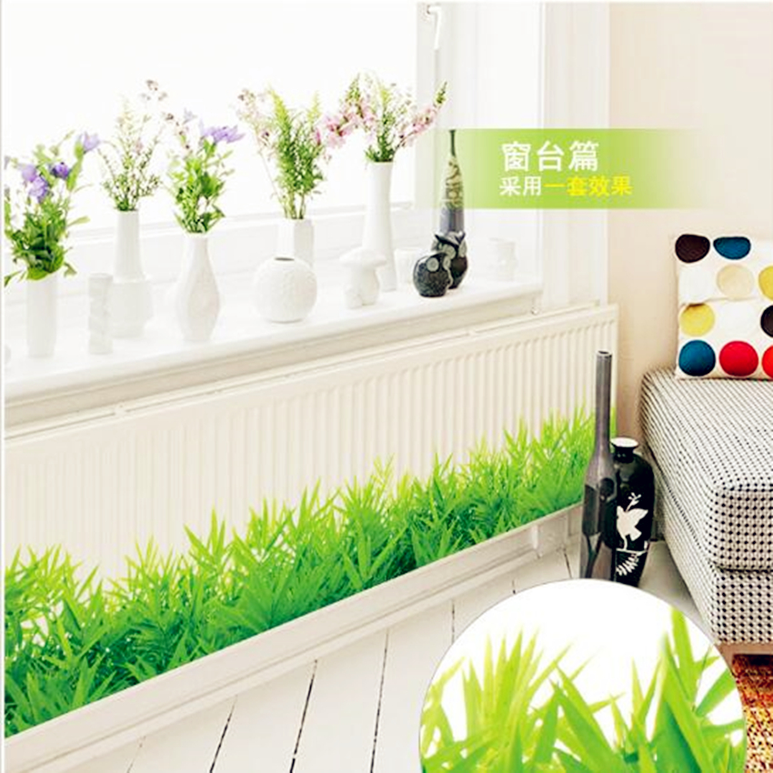 3d fresh green grass baseboard pvc wall stickers for Living room bedroom bathroom kitchen