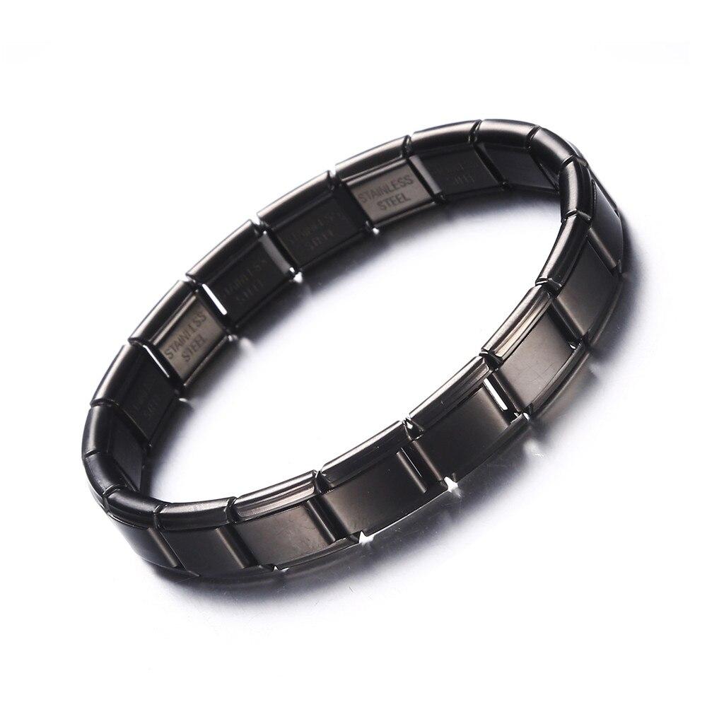New Black Color Stainless Steel Bracelets Elastic Adjustable Chain Link Bracelet for Men Women Silver Color Steel Chains Jewelry