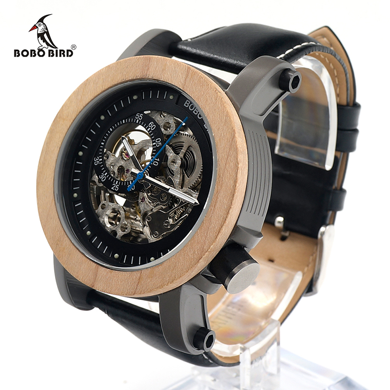 BOBO BIRD New Arrival V-K14 Maple Wooden Bezel Mechanical Watch Hollow Skeleton Automatic Watch with Leather Strap in Gift Box 機械 式 腕時計 スケルトン