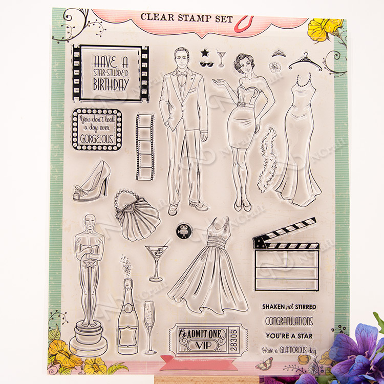 Die Oscar Design Transparent Clear Silicone Stamp/Seal for DIY scrapbooking/photo album Decorative clear stamp sheets A260 lovely bear and star design clear transparent stamp rubber stamp for diy scrapbooking paper card photo album decor rm 037