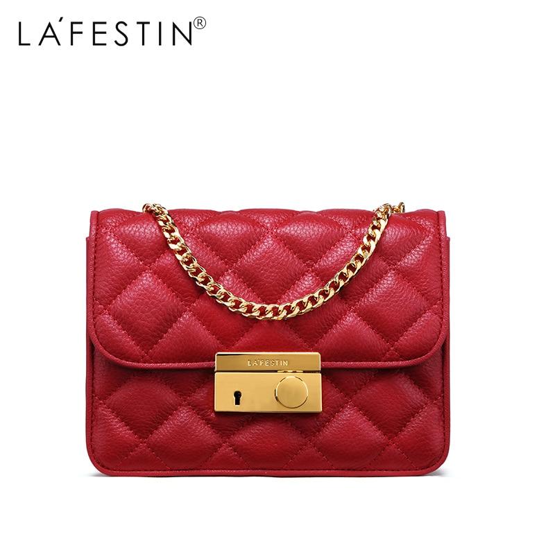 58b146f321aa LAFESTIN Для женщин сумка натуральная кожа Металл цепь сумка дизайнер Flap  Crossbody Bag женские Высокое качество Sac основной