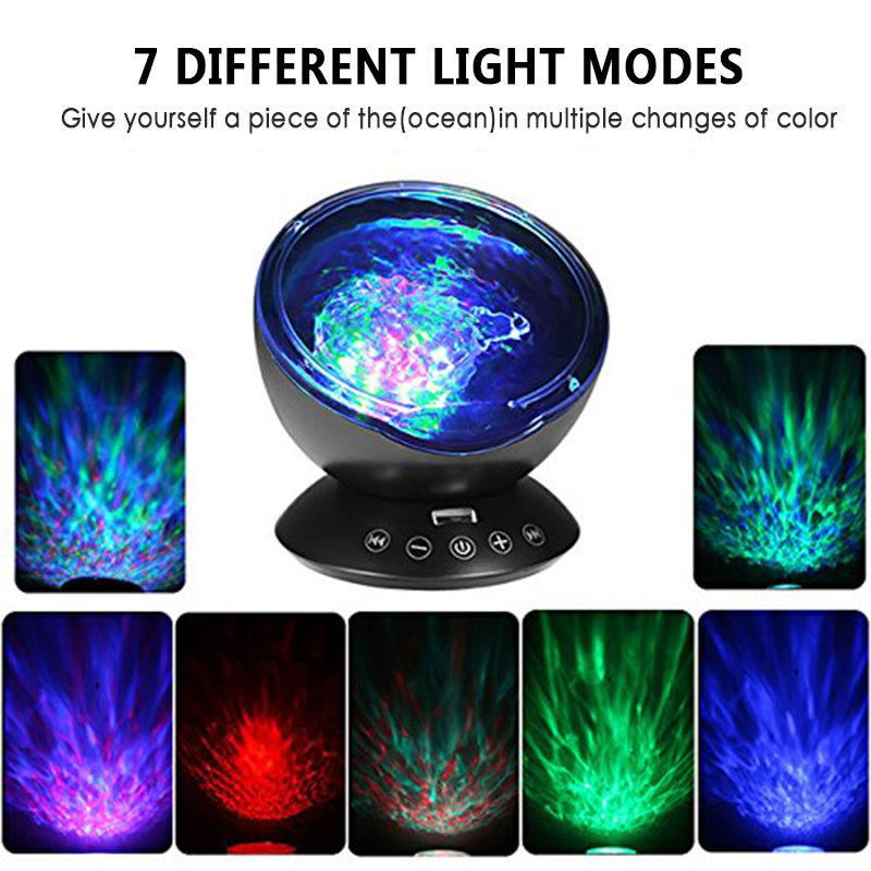 Upgraded Version Remote Control Colorful Projection Lamp Wave Sleep Light Sky Ocean Star Projector Lamp Home Bedroom Decor Lamp