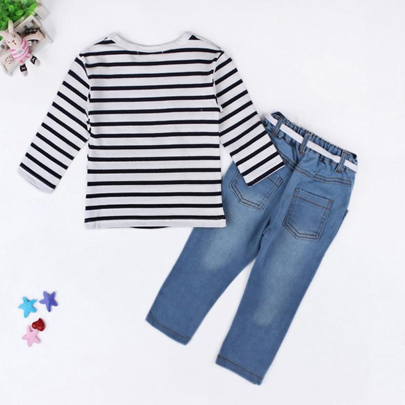 Frühlings-Sommer-Mädchen-Kleidungs-gesetzte gestreifte langärmlige - Kinderkleidung - Foto 3