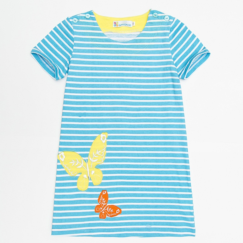 Baby Dresses 100% Cotton Girl Blouses Embroidery Summer Short Kids Tops Jumpers Children Sweatshirts Stripe Shirts