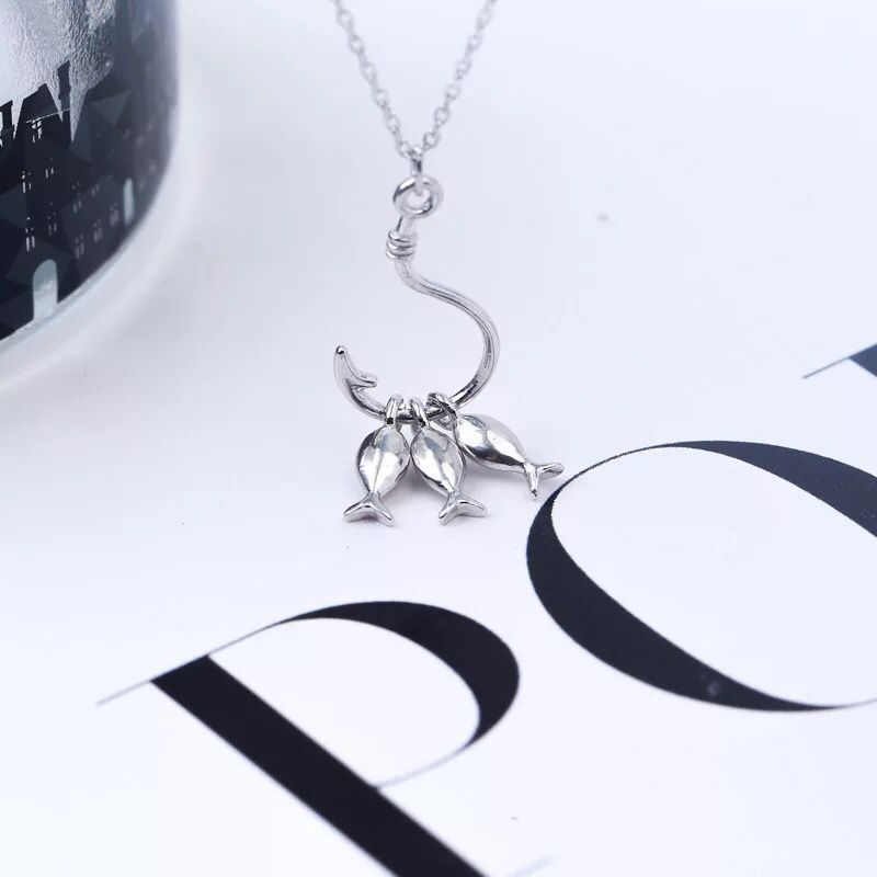 S925 sterling silver cute fish pendant necklace hook short clavicle chain fashion accessories DB08S925 sterling silver cute fish pendant necklace hook short clavicle chain fashion accessories DB08