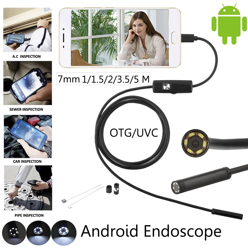 7mm 5.5mm Android Endoscope USB Cable Focus Camera 1M 5M 2M Waterproof Full LED HD Inspection Mini Camera Borescope for Phone PC