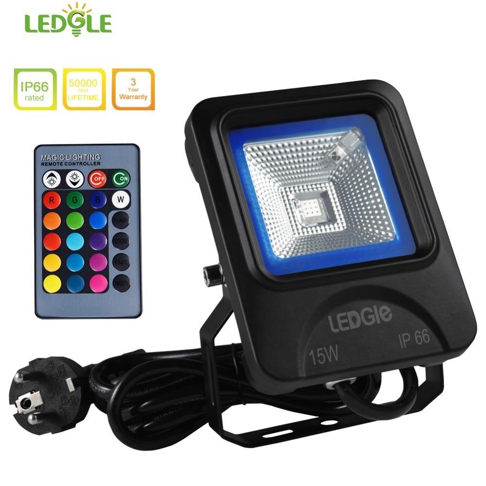 LEDGLE 15W LED Flood Light RGB Floodlights Waterproof Outdoor Lights with Remote Control UK US EU Plug16 Colors 4 Lighting Modes
