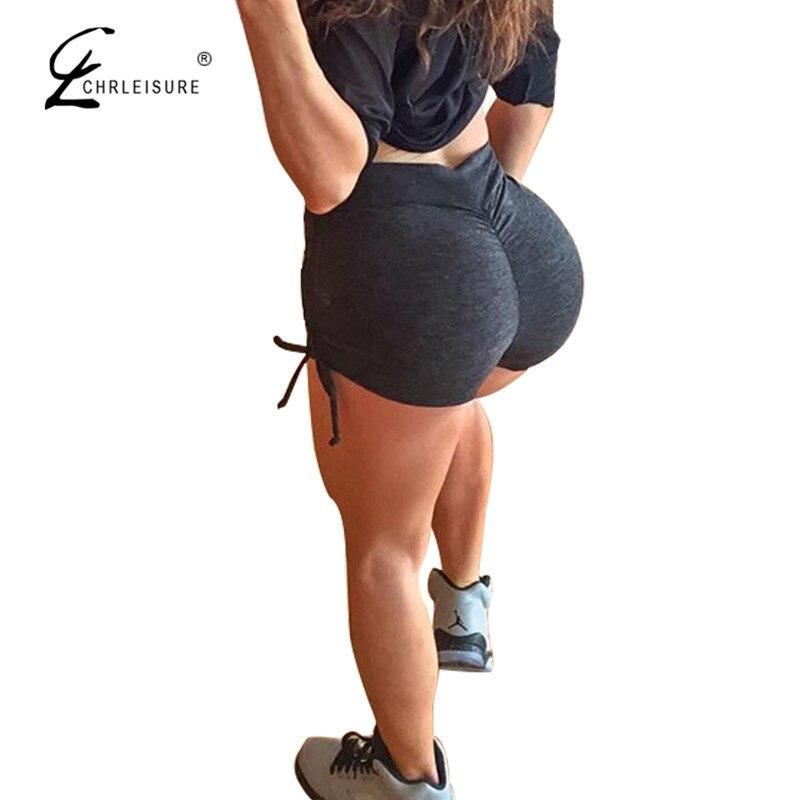CHRLEISURE Push Up High Waist   Shorts   Women Summer Sexy Solid Side Bandage Mini   Shorts   Black Skinny Waist Women Clothing