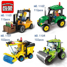ENLIGHTEN City Construction Road Roller Forklift Tractor Sweeper Truck  Building Block DIY Toys For Kids Gifts enlighten 115pcs legoing city road roller forklift truck tractor sweeper building blocks sets educational toys for children