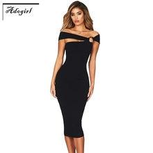 b1eed5017 Adogirl hombro elegante Bodycon vestido de fiesta mujeres vestido Sexy  Night Club sólido vestido sin tirantes