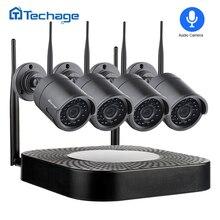 Techage registro de Audio Wifi CCTV sistema de seguridad 4CH 1080 P 2MP inalámbrico NVR Kit IR Cámara al aire libre P2P Video vigilancia conjunto de 1 TB