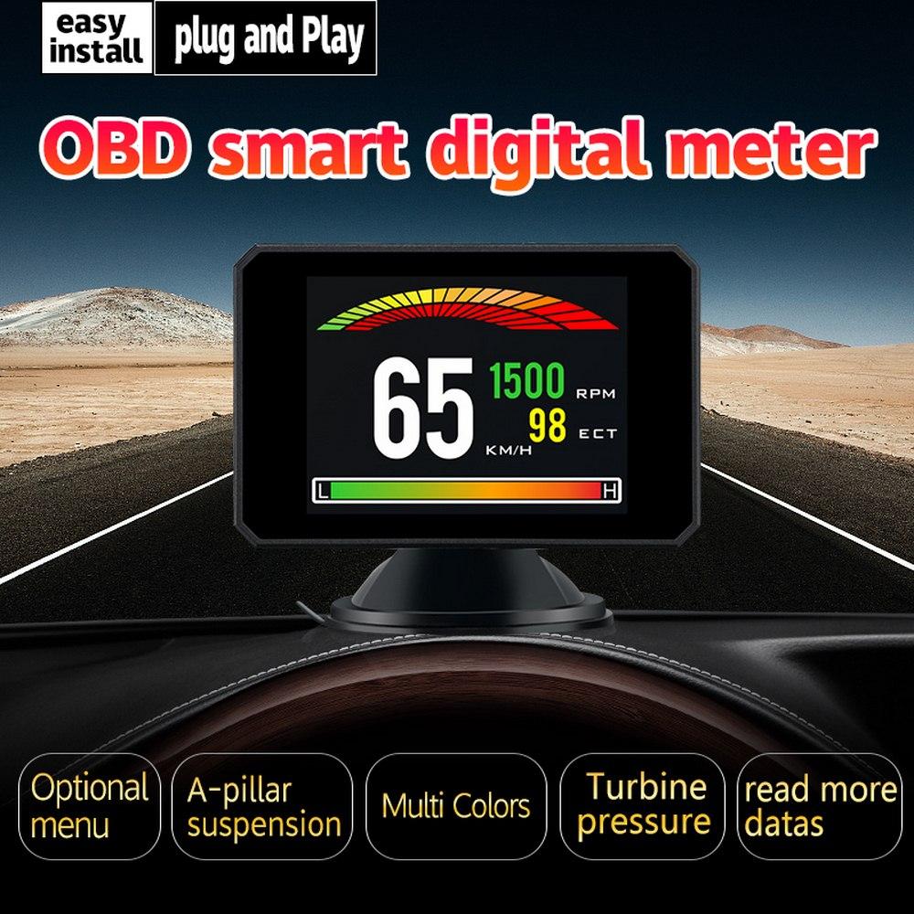 Car Head up Display P16 Oil Water Temp Gauge Speedometer Auto Alarm Driving Speed Voltage Alarm Car Electronics Accessories