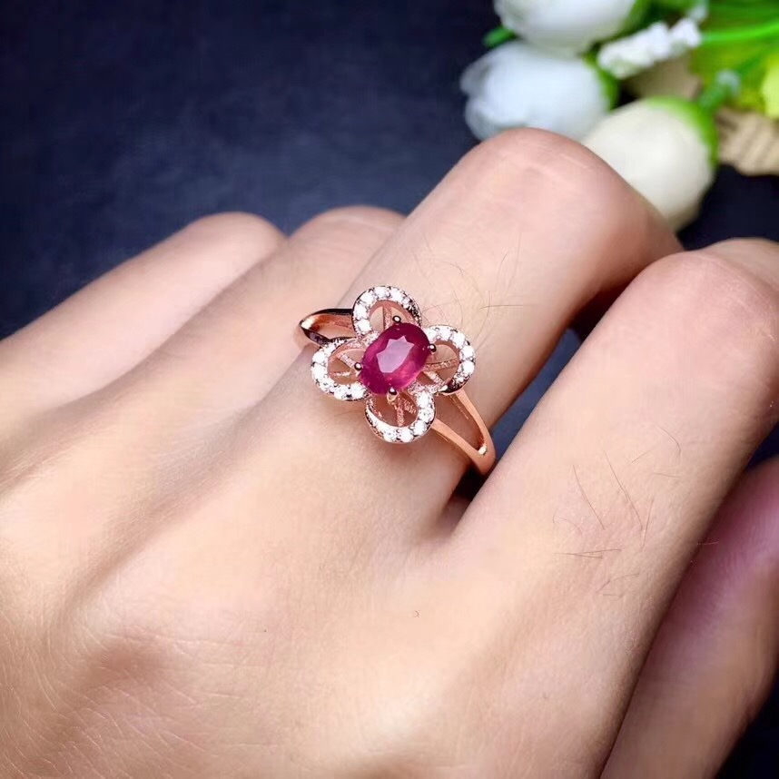 butterfly Ring Ruby ring Free shipping Natural real ruby 925 sterling silver Fine handworked jewelry Finger rings Gem 4*6mm