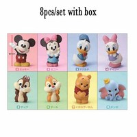 Disney anime movie figures Mickey Minnie Donald Duck Chip 'n' Dale Winnie the Pooh Dumbo action figure toys doll with box 8CM
