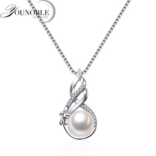 100% Real Natural Pearl Pendant Women,trendy Flower 925 Silver Necklace Girl Bridal Gift mobuy trendy real 100