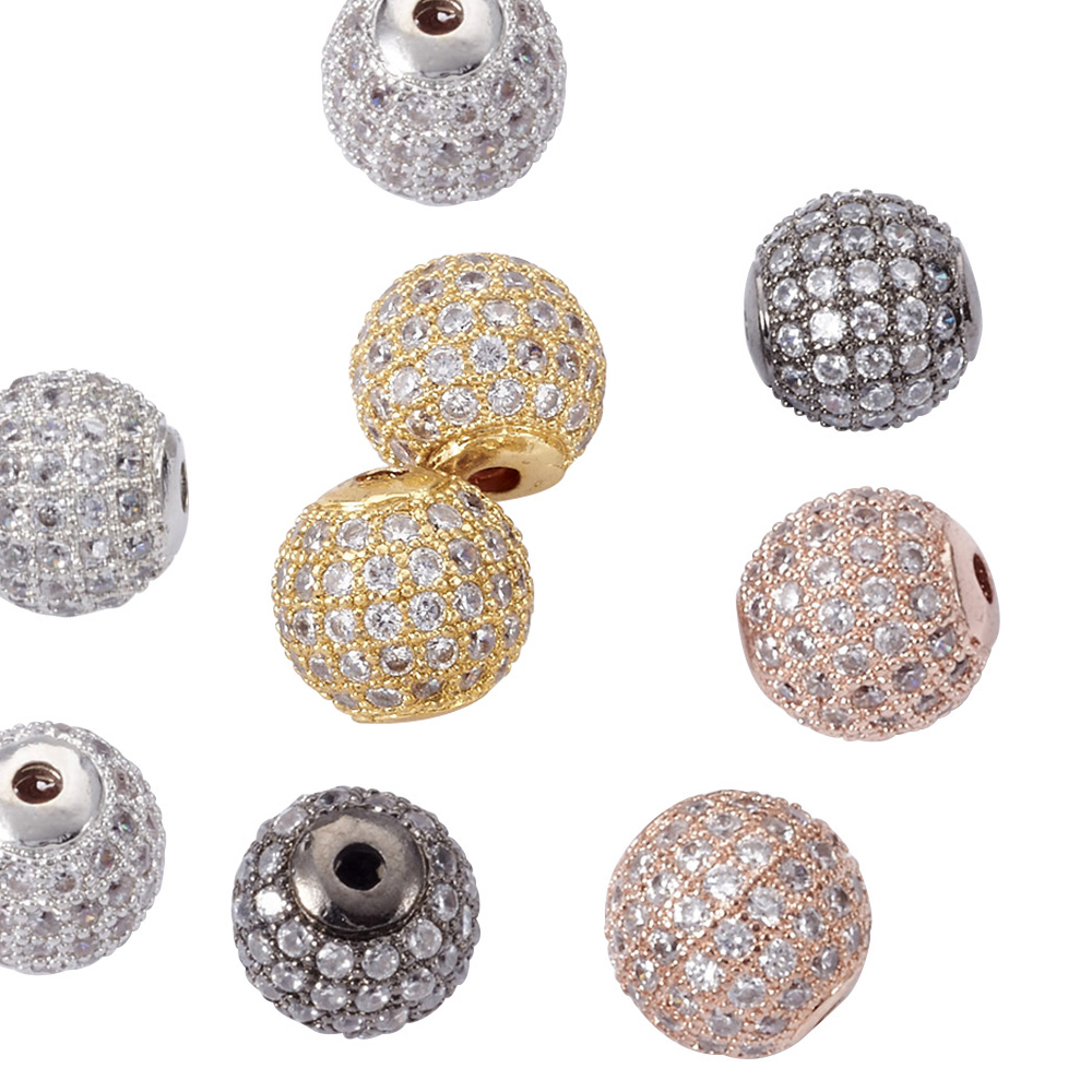 8MM Gold Plated CZ Crystal Pave Disco Rhinestone Balls Spacers Bead Findings 10P