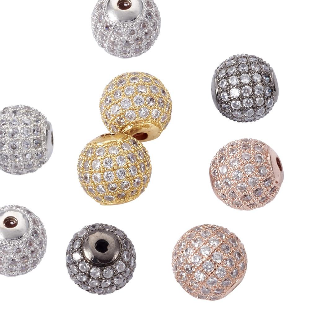 Clear door beads - 8 10mm Aaa Fashion Round Brass Micro Pave Clear Cubic Zirconia Cz Charm Metal Beads Diy Jewelry Bracelet Rhinestone Disco Ball