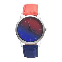 Women Watch Quartz Wrist Watch Retro Rainbow Design Casual Leather Band Ladies Bracelet Watches