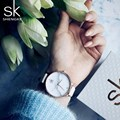 Shengke часы топ бренда женские роскошные кожаные часы повседневные розовые кожаные Наручные часы Relogio Feminino Montre Femme 2017 SK