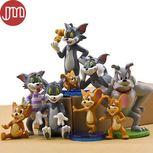 New 9 PCS Tom and Jerry Figure Toys Cat Mouse Dog Cartoon Animals