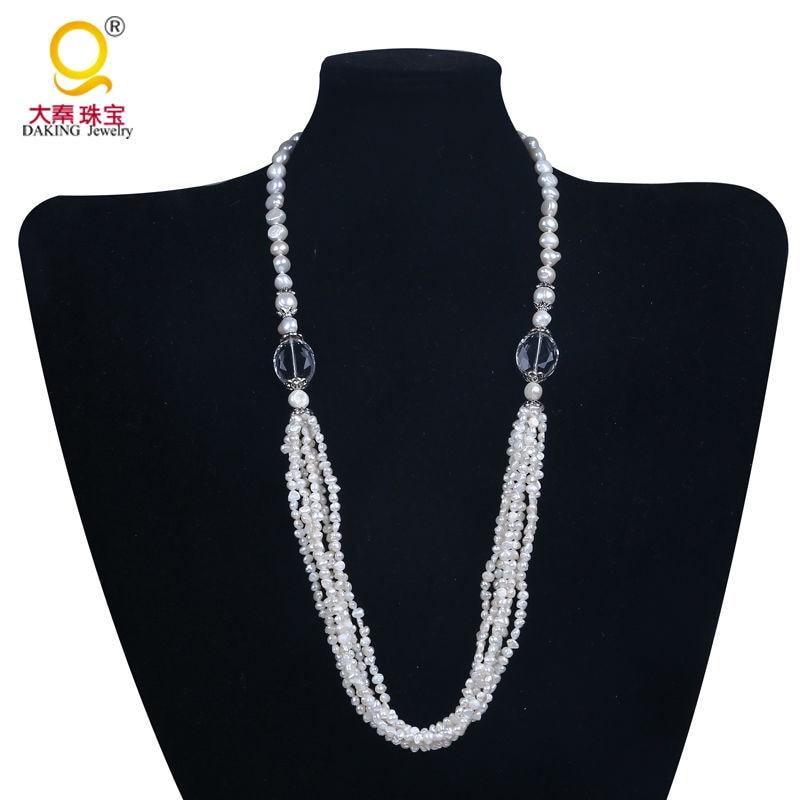 709fa0a53744 Diseñador collar de perlas de agua dulce verdadera perla collar blanco  collar de perlas con cristal del ojo del caballo elegante collar
