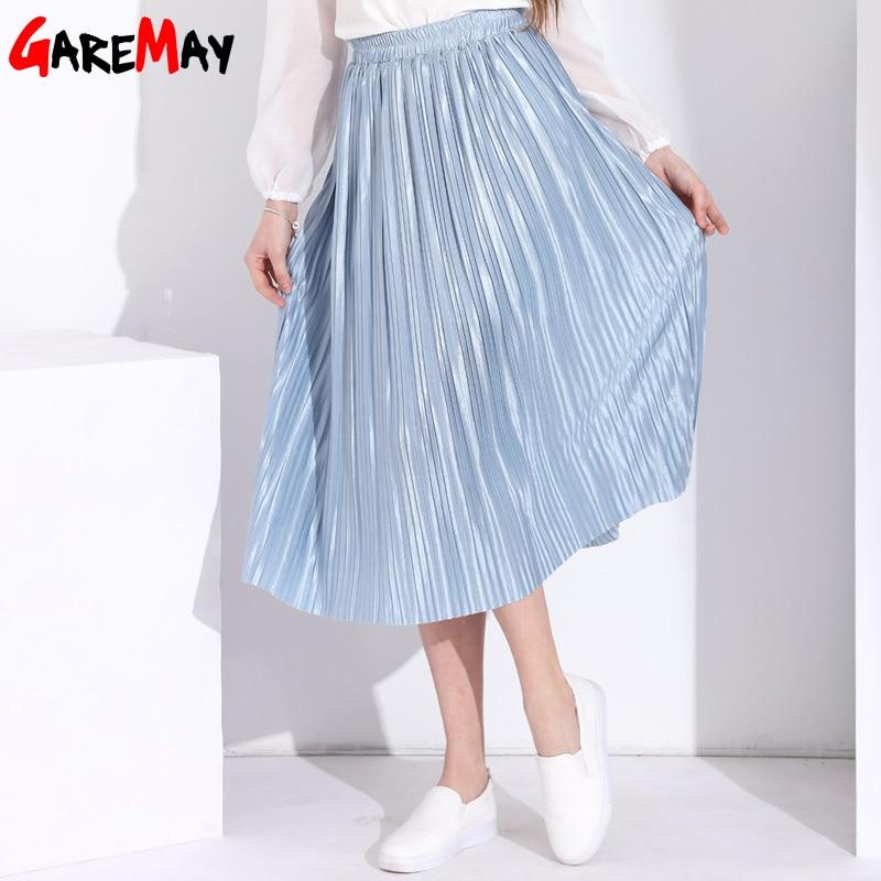 1914f20a6 Faldas largas de verano para Mujer elegantes Faldas de cintura alta para  Mujer falda negra plisada ...