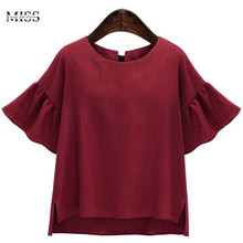 New Arrival Red Blouse Womens Tops Plus Size Women Clothing 4XL Summer Chiffon Blouse Top Shortgant Blusas Feminina 2017 Shirts