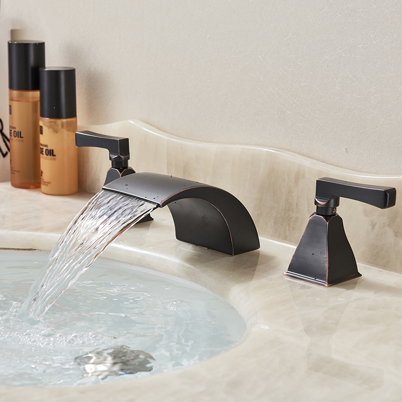 Bathroom Basin Faucet 3pc Oil Rubbed Bronze Basin Water Taps Two Handles Three Holes Deck Mounted basin mixer faucet for bathroom dual handles three holes oil rubbed bronze