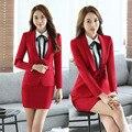 Moda Formal de Otoño Invierno Novedad Rojo Carrera Profesional Trajes de Trabajo Con Chaquetas Y Falda de Las Señoras Blazers Trajes Uniformes