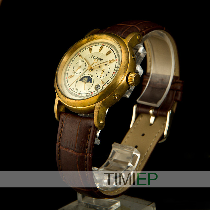 old brass Men Elegant See Through moon phase Special design of the pointer Type Mechanical Leather Watch classic цены онлайн