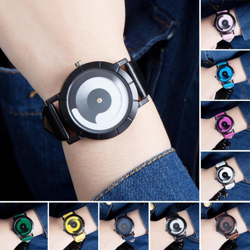 1pc New Lovers Women Men Watch Wrist Clocks Hour Quartz Wristwatches Black Pointer Leather Strap Round Shape Relogio Feminino