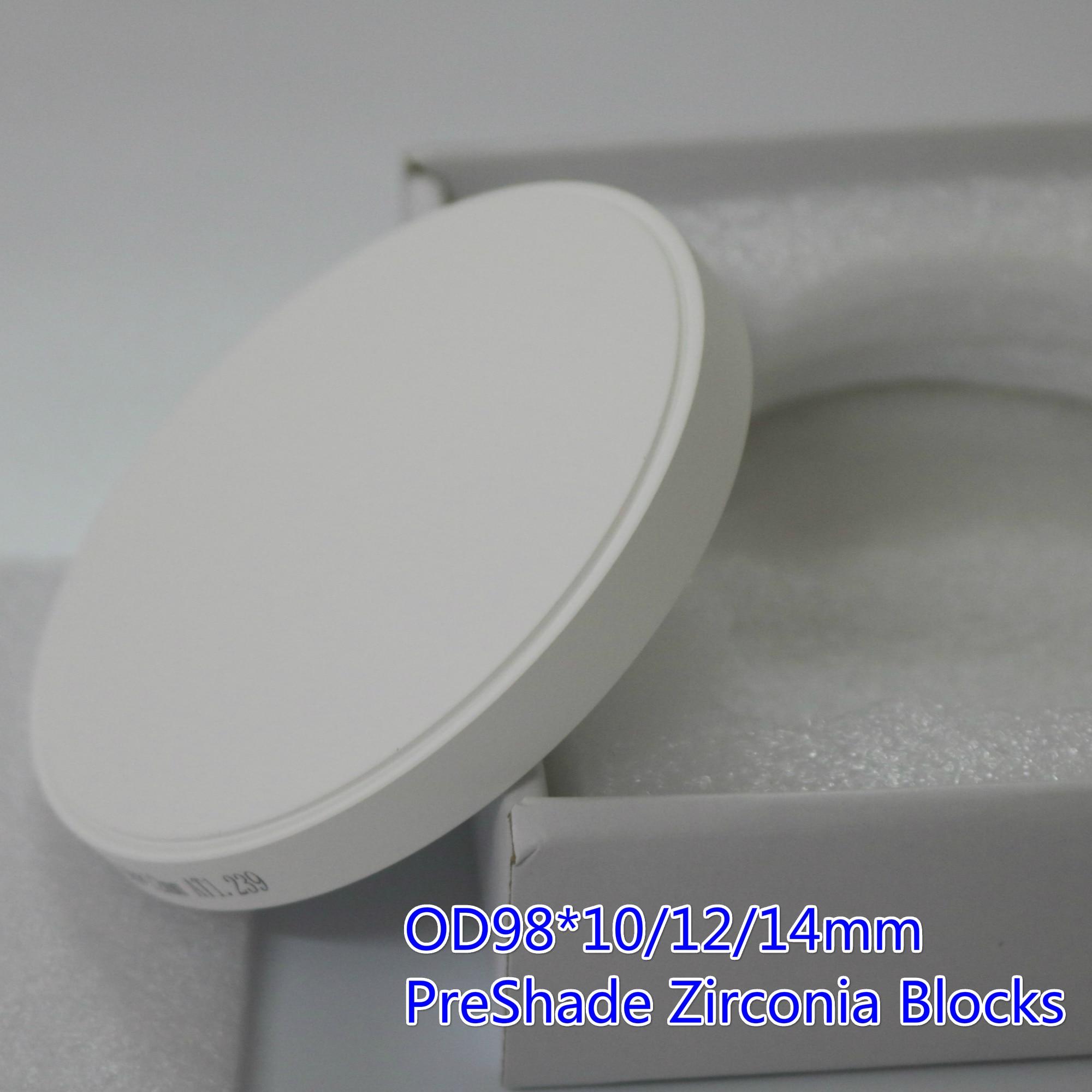 Blocs dentaires de zircone de Preshade du consommable A2 A3 de laboratoire dentaire compatibles avec les matériaux de dents de porcelaine de système de fraisage de CAD/CAM de Roland VHF