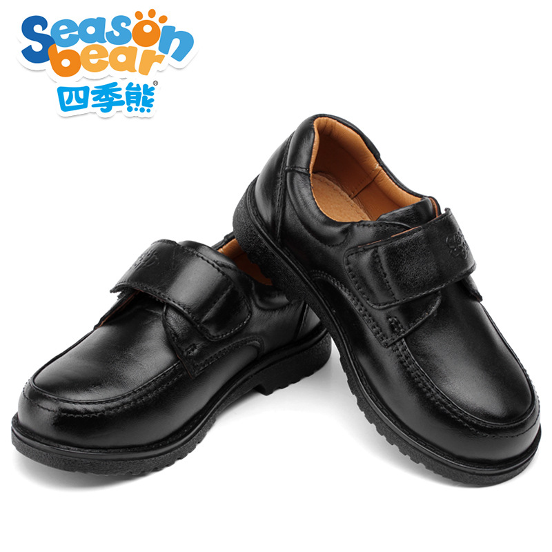 SEASON BEAR Fashion Boys Campus Shoes Black Genuine Leather Footwear Uniform School Shoes Nonslip Classical AAAA+
