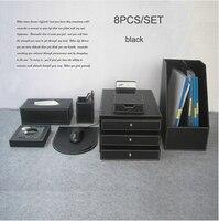 Роскошные 8 шт./компл. woodpuleather офисный стол файл канцелярские принадлежности и Организатор держатель ручки картотеке коврик для мыши Черный
