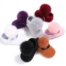Милая обувь с помпонами для новорожденных девочек 0-18 месяцев; детская обувь; однотонная мягкая обувь для малышей